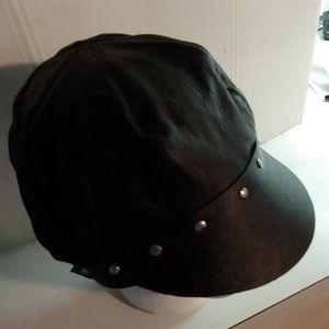 Leather biker cap